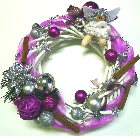 b15467196 Vianočný veniec strieborno-fialový, 30cm | ACH129 | Vianočné ozdoby ...