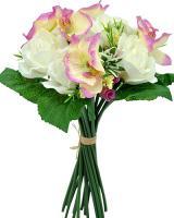 Umelá kytica z ruží a orchideí, 38cm_1