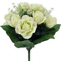 Umelá kytica s ružami a konvalinkami, 37cm_1