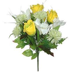 Umelá kytica z ruží, ľalií a chryzantém, 37cm_1