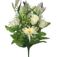 Umelá veľká kytica z ruží, gerbier a strelícií, 46cm_1