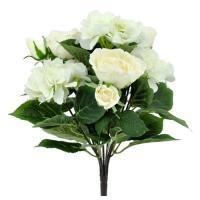 Umelá kytica s ružami a hortenziami, 43cm_1