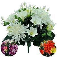 Umelá kytica z chryzantém, ľalií a ruží, 45cm_1