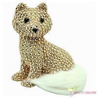Dekoratívna líška so štrasom - zlatá, 15cm_1
