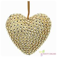 Dekoratívne srdce so štrasom - zlaté, 10cm_1