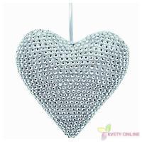Dekoratívne srdce so štrasom - strieborné, 16cm_1