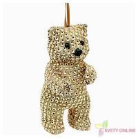 Dekoratívny medveď so štrasom - zlatý, 15cm_1