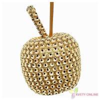 Dekoratívne jablko so štrasom - zlaté, 6cm_1