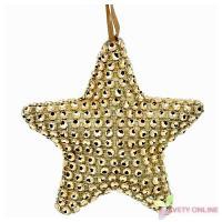 Dekoratívna hviezda so štrasom - zlatá, 11cm_1