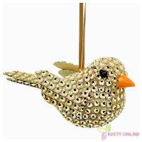 Dekoratívny vtáčik so štrasom - zlatý, 12cm_1