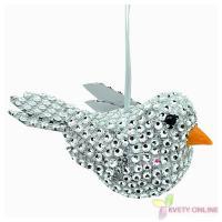 Dekoratívny vtáčik so štrasom - strieborný, 12cm_1