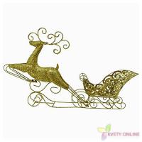 Vianočná dekorácia sob so sánkami - zlatá, 80cm_1