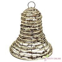 Prútený zvonček na zavesenie - zlatý, 17cm_1