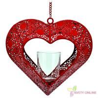 Svietnik v tvare srdca - červený, 42cm_1
