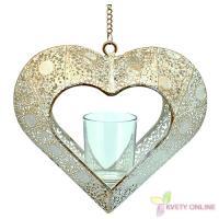 Svietnik v tvare srdca - bielo-zlatý, 42cm_1