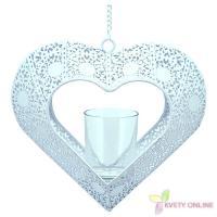 Svietnik v tvare srdca - biely, 42cm_1