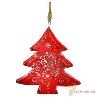 Drevený stromček na zavesenie - červený, 12cm_1