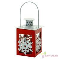 Vianočný lampáš - červený, 13cm_1