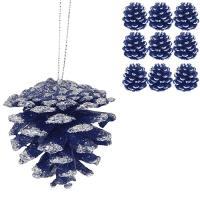 Modré vianočné šišky 6cm/18ks_1